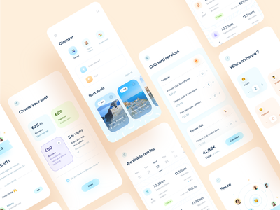 Hopstr • app design part 4 minimal kit ui elements ui kit icons pricing price checkout search clean share filters trip events booking gradients travel app travel cards branding