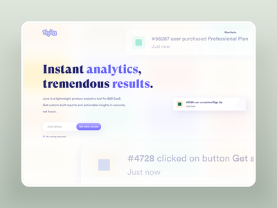 June website fintech gradient minimalist hero landing page money startup analytic typography blur logo product design b2b saas analytics clean branding