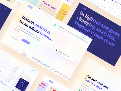 June website • sections layouts typography graph cards gradient saas logo components homepage money colorful landing page landing hero statistics icons charts analytics blur clean branding