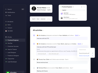 Crew • Activity feed careers design system components icons recruitment software product design sidebar navigation dark ui components hiring job startup teamwork activity feed profile saas design saas branding