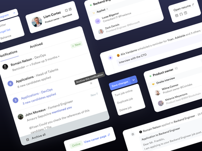 Crew • Candidate profile components timeline dark icons product design saas design saas activity feed profile job notifications startup software recruitment ui elements components design system careers hiring clean branding