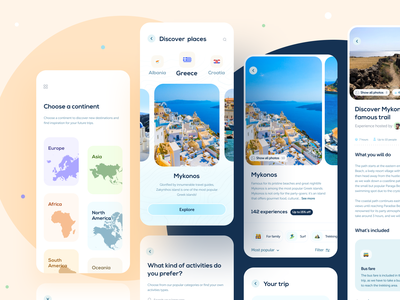 Hopstr • app design part 5 figma kit branding learning education filtering filters incons booking events onboarding pricing price ui elements ui kit checkout colorful gradients travel app travel