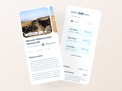 Hopstr • Book experiences kit events travel app gradients colorful behance ui elements booking filtering filters pricing price travel figma ui kit design system components checkout money payment