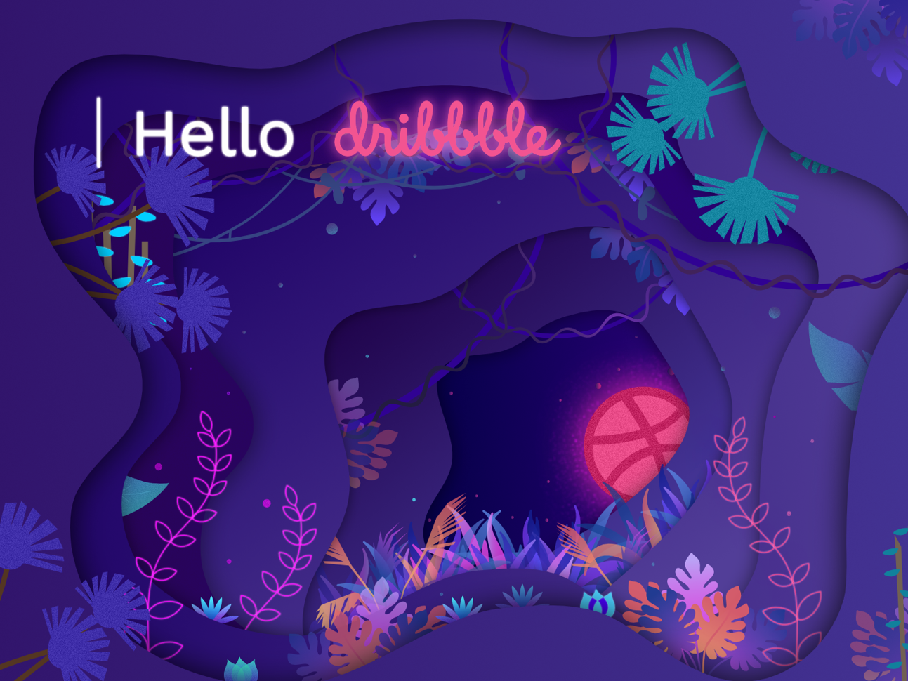 Hello dribbble! affinity designer gradients hello forest dribbble jungle paper cut illustration hello dribbble first shot debut