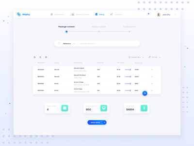 Shipizy - billing funnel concept quote shipment data table table billing funnel shipping funnel steps funnel invoice billing ux ui dashboard shipping