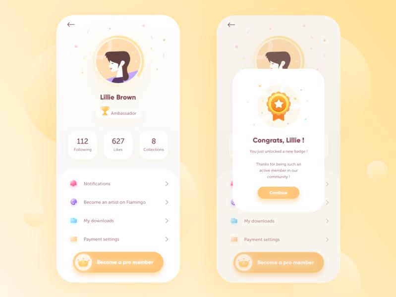 Flamingo 🦩• profile and badge mobile ui mobile level game character colorful ui design premium illustration social settings profile uiux minimalist minimalism mobile app gradient icons badge app design