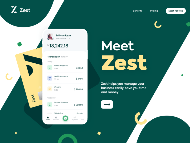 Zest • Homepage hero exploration V1 inspiration business card bank app pattern green desktop money payments online bank finance icons banking credit card freelance fintech bank account bank landing page hero homepage