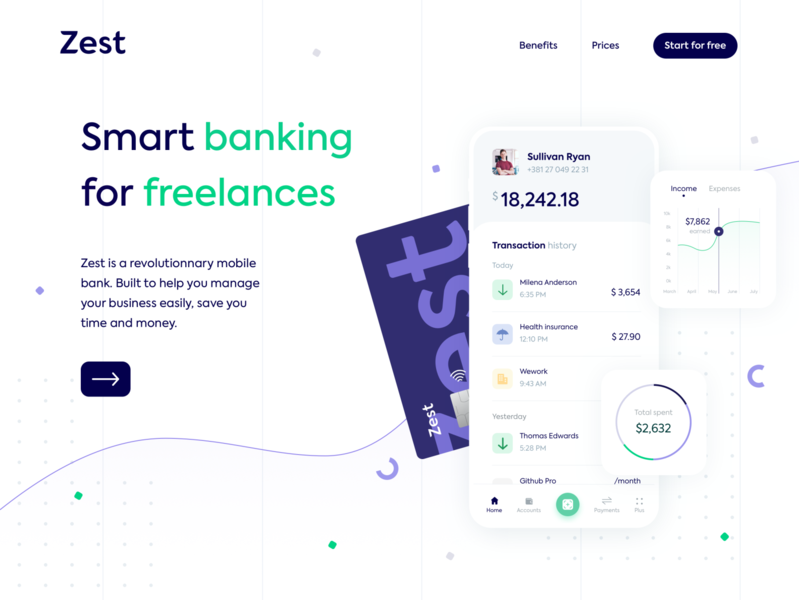 Zest • Homepage hero exploration V3 home page payment online bank money landing page landing inspiration icons homepage hero freelance fintech finance desktop credit card bank app banking clean bank account bank