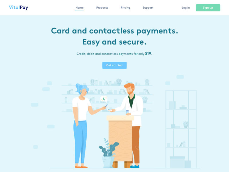 VitalPay • Homepage hero exploration shopping store landing flat design flat uiux clean blue illustration desktop home page landing page homepage plans pricing plan pricing card reader payment credit credit card