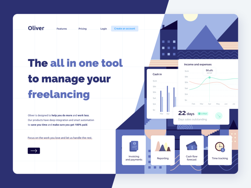 Oliver • Homepage hero exploration finance home page fintech clean flat design landing page desktop flat blue icons payments analytics reporting invoice money charts hero homepage freelancing freelance