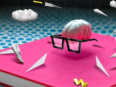 Brainzone photography abstract brain brains glasses paper plane