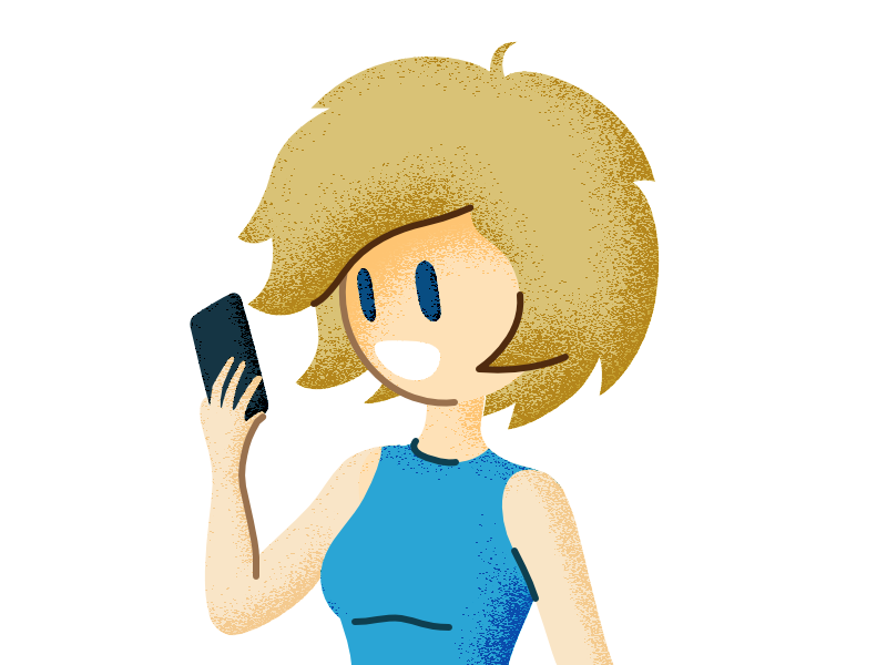 Fishisfast's Anna - styling idea shading blue smile holding phone hair round girl woman blonde lines illustration