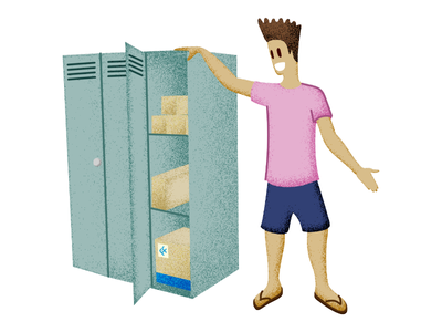 'Free US Locker' for Fishisfast warehouse shipments shading shipping cargo boxes locker