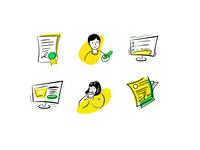 Hand draw icons set