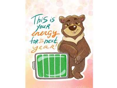 Energy wish card greetingcard energy bear animal art cute art drawing character character design cute animals children illustration design art illustrator illustration