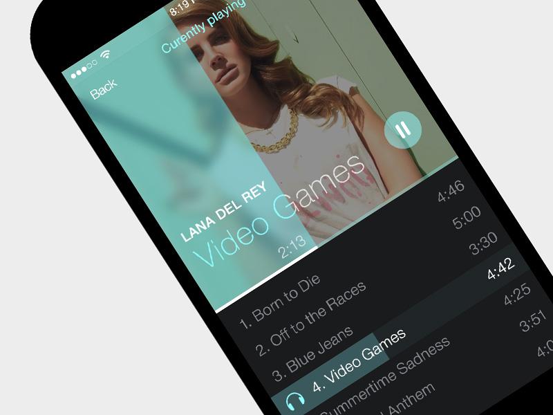iOS7 Simple Music Player App by kreatıva on Dribbble