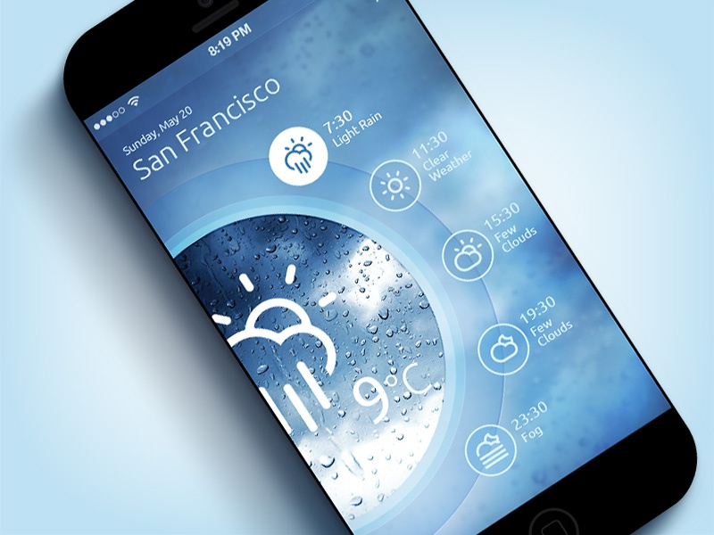 Weather App (Washing Machine) iOS7 ios7 mobile app concept app design interface ui iphone app weather