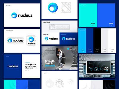 Nucleus - Branding logo typeface brand color palette nucleus brand guide payment branding