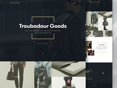 Troubadour - homepage troubadour luxury fashion accessories handcrafted leather bags website concept