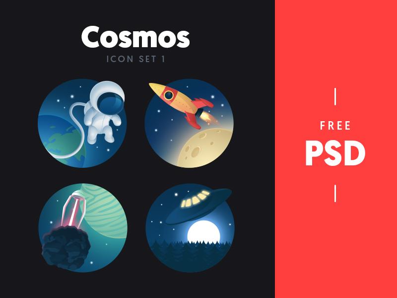 Cosmos - free icon set 1 rocket. planet astronaut ufo cosmos stars space illustration set icon psd free freebie