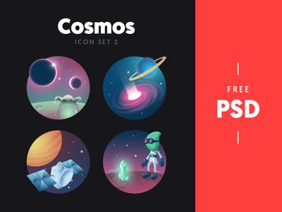 Cosmos - free icon set 2 set space wormhole gem alien satellite planets stars freebie psd icon illustration