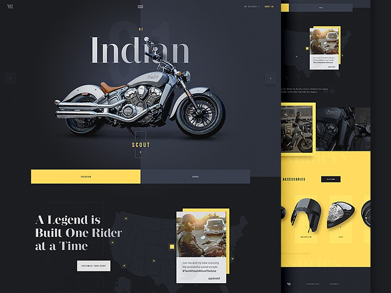 Vintage Rides Concept one page vintage accessories typography clean rides motorcycles indian concept layout website