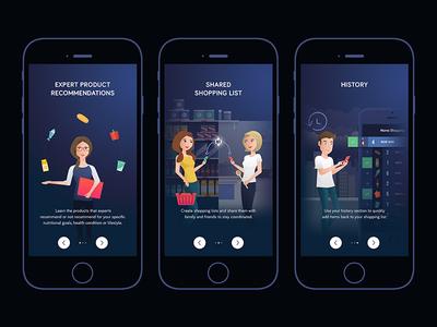 Shoptimix - Onboarding groceries food illustration onboarding app iphone ios list shopping shoptimix