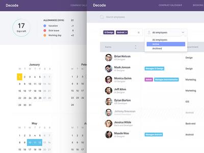 HR Manager - Employees & My Calendar