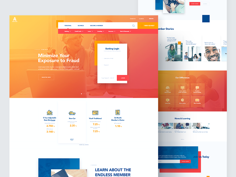 Credit Union - Homepage design loan credit union banking ui ux web website homepage