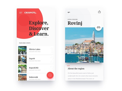 CroSpots - Mobile Web website mobile travel tourism layout design croatia