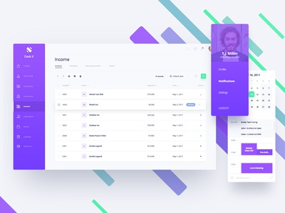 dashX - Income Dashboard tables ux ui ui  ux dashboard app dashboard design time tracking resourcing project management payroll invoice income dashx dashboard accounting