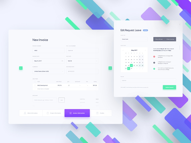 DashX Invoicing And Leave Request By KREATIVA Dribbble - Invoice request