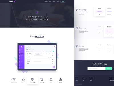 dashX - Features & Pricing website homepage time tracking schedule resourcing project management payroll invoice income dashx dashboard accounting