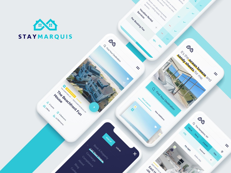 Stay Marquis - Mobile Screens luxury layout iphone accomodation properties rentals mobile ux ui design website