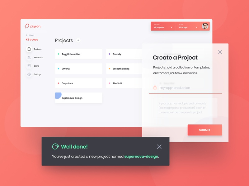 Pigeon - Projects Dashboard