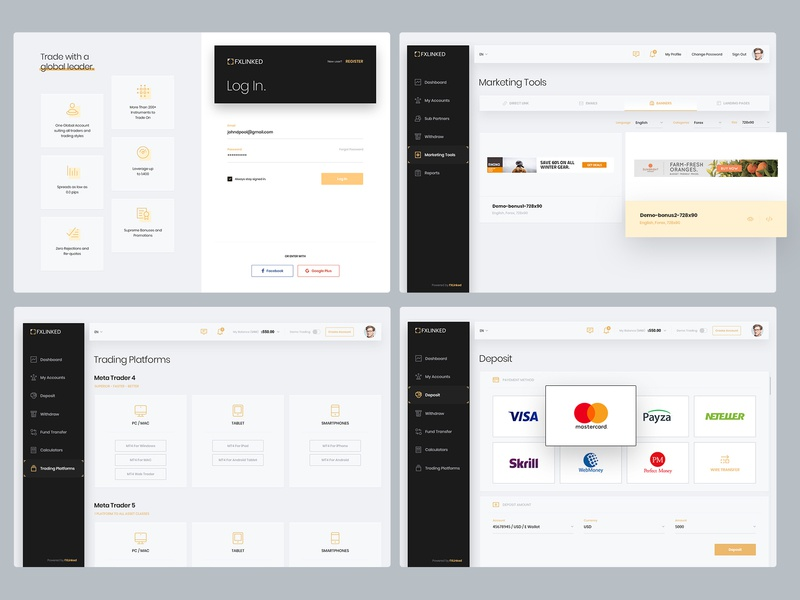 Fx Linked Payment Sign Up In Log Login Website Web Trade Stats Profit Ui