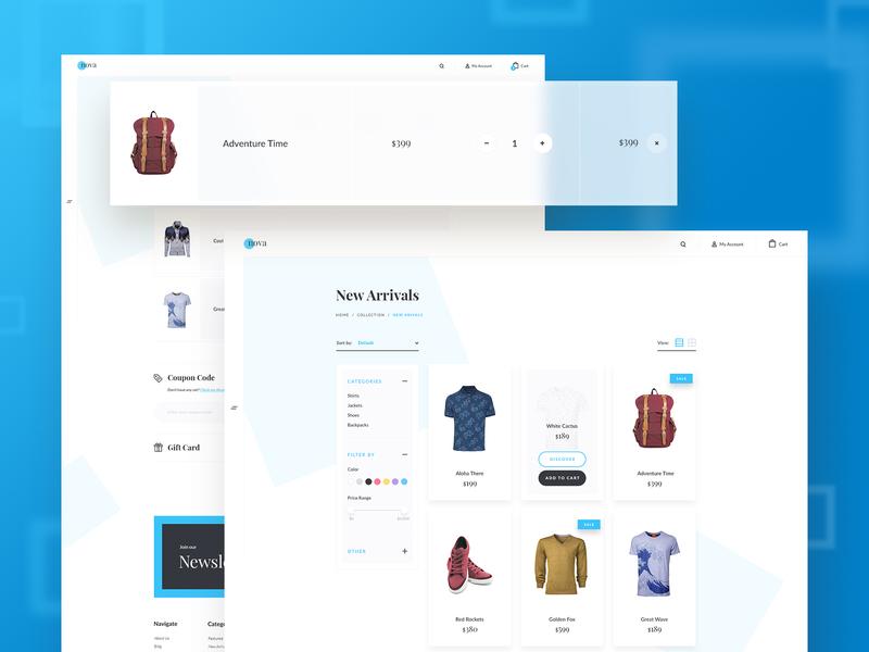 Nova Theme Subpages Variation 2 ux ui shop cart checkout store shirt bag theme bootstrap bigcommerce ecommerce