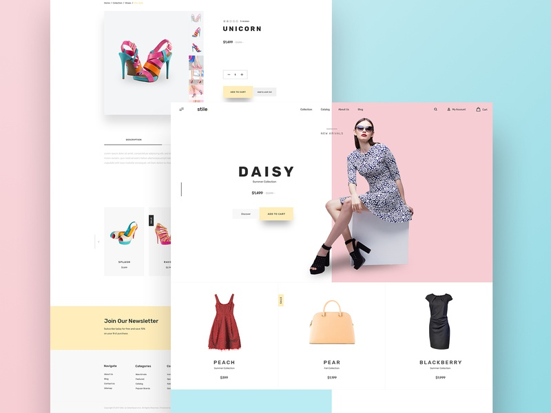 Stile Theme Variation 3 homepage website women shoes dress shop bootstrap bigcommerce ecommerce ui ux design theme stile
