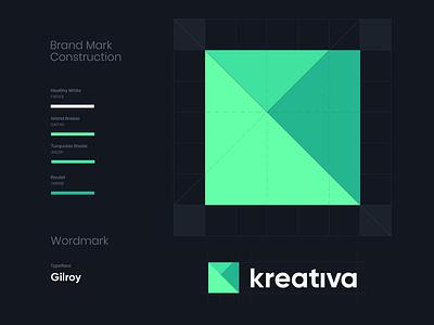 Logo evolution wordmark mark kreativa k letter k brand rebranding redesign branding logo