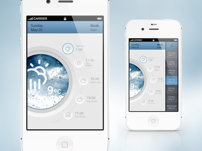 Weather App (washing machine) weather app iphone ui interface app design app concept cloud mobile ios