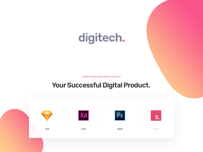 Digitech - UI8 template for startups sketch invision studio photoshop xd documents startup landing page startup branding template design website digital startup template ui8