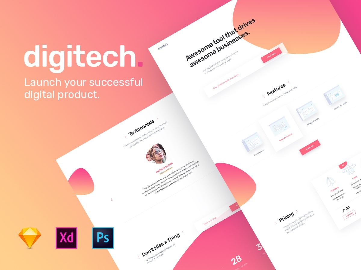 Digitech Homepage - UI8 template for startups photoshop xd sketch product website template design startup landing page startup ui8 landing page homepage template digitech digital