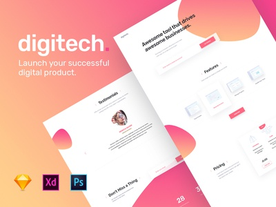 Digitech Homepage - UI8 template for startups