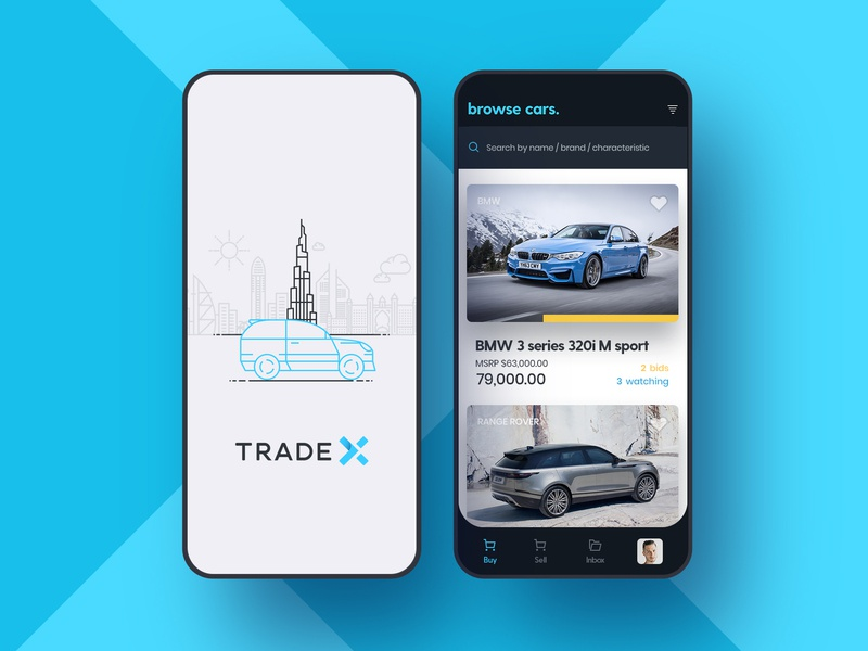 Trade X bid illustration search browse sell buy android ios app ads marketplace cars tradex