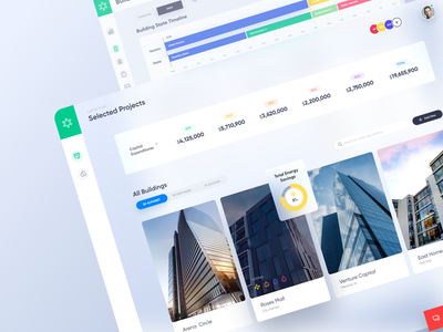 Bractlet Dashboard - Selected Projects app buildings properties stats optimisation chart cards user interface ui user experience ux dashboard design system web app webapp website web