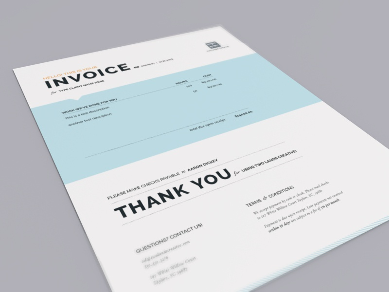 Two Lands Creative Invoice invoice
