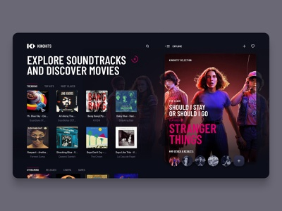 Kinohits (saas platform) on Desktop user interface design interface visual design ux design music app ui music app movies app music soundtrack playlists software ui sass ux ui