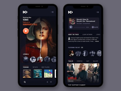 Kinohits (saas platform) on Mobile ux design ux responsive design mobile app design dark mode soundtracks playlists movies app music app saas design saas app user interface design ui