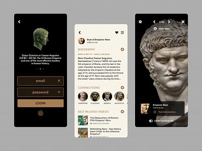 Museo Romano · Tour Guide App dailyui user interface design visual design museum app ar tour app tour guide greek rome ancient museum product design ux ui