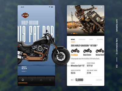 Daily UI #012 - Single Product harley davidson store app ecommerce single item single product bike typography visual design ux user interface design design ui